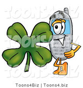 Illustration of a Cartoon Cellphone Mascot with a Green Four Leaf Clover on St Paddy's or St Patricks Day by Toons4Biz