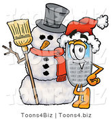 Illustration of a Cartoon Cellphone Mascot with a Snowman on Christmas by Toons4Biz