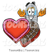 Illustration of a Cartoon Cellphone Mascot with an Open Box of Valentines Day Chocolate Candies by Toons4Biz