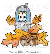 Illustration of a Cartoon Cellphone Mascot with Autumn Leaves and Acorns in the Fall by Toons4Biz
