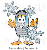 Illustration of a Cartoon Cellphone Mascot with Three Snowflakes in Winter by Toons4Biz