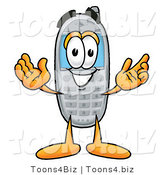 Illustration of a Cartoon Cellphone Mascot with Welcoming Open Arms by Toons4Biz