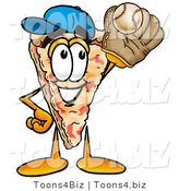 Illustration of a Cartoon Cheese Pizza Mascot Catching a Baseball with a Glove by Toons4Biz