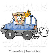Illustration of a Cartoon Cheese Pizza Mascot Driving a Blue Car and Waving by Toons4Biz