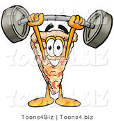 Illustration of a Cartoon Cheese Pizza Mascot Holding a Heavy Barbell Above His Head by Toons4Biz