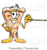 Illustration of a Cartoon Cheese Pizza Mascot Holding a Pointer Stick by Toons4Biz
