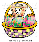Illustration of a Cartoon Cheese Pizza Mascot in an Easter Basket Full of Decorated Easter Eggs by Toons4Biz