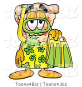 Illustration of a Cartoon Cheese Pizza Mascot in Green and Yellow Snorkel Gear by Toons4Biz