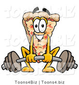 Illustration of a Cartoon Cheese Pizza Mascot Lifting a Heavy Barbell by Toons4Biz