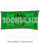 Illustration of a Cartoon Cheese Pizza Mascot on a Dollar Bill by Toons4Biz