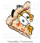 Illustration of a Cartoon Cheese Pizza Mascot Peeking Around a Corner by Toons4Biz