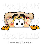 Illustration of a Cartoon Cheese Pizza Mascot Peeking over a Surface by Toons4Biz