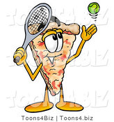 Illustration of a Cartoon Cheese Pizza Mascot Preparing to Hit a Tennis Ball by Toons4Biz