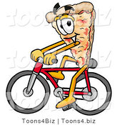 Illustration of a Cartoon Cheese Pizza Mascot Riding a Bicycle by Toons4Biz