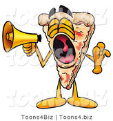 Illustration of a Cartoon Cheese Pizza Mascot Screaming into a Megaphone by Toons4Biz