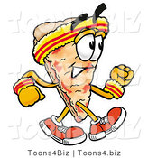 Illustration of a Cartoon Cheese Pizza Mascot Speed Walking or Jogging by Toons4Biz