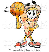 Illustration of a Cartoon Cheese Pizza Mascot Spinning a Basketball on His Finger by Toons4Biz