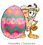 Illustration of a Cartoon Cheese Pizza Mascot Standing Beside an Easter Egg by Toons4Biz