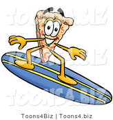 Illustration of a Cartoon Cheese Pizza Mascot Surfing on a Blue and Yellow Surfboard by Toons4Biz