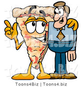 Illustration of a Cartoon Cheese Pizza Mascot Talking to a Business Man by Toons4Biz