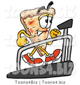 Illustration of a Cartoon Cheese Pizza Mascot Walking on a Treadmill in a Fitness Gym by Toons4Biz