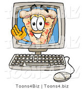 Illustration of a Cartoon Cheese Pizza Mascot Waving from Inside a Computer Screen by Toons4Biz