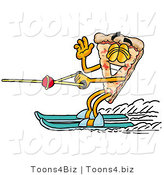 Illustration of a Cartoon Cheese Pizza Mascot Waving While Water Skiing by Toons4Biz