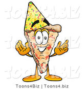Illustration of a Cartoon Cheese Pizza Mascot Wearing a Birthday Party Hat by Toons4Biz