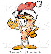 Illustration of a Cartoon Cheese Pizza Mascot Wearing a Santa Hat and Waving by Toons4Biz
