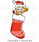 Illustration of a Cartoon Cheese Pizza Mascot Wearing a Santa Hat Inside a Red Christmas Stocking by Toons4Biz