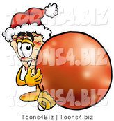 Illustration of a Cartoon Cheese Pizza Mascot Wearing a Santa Hat, Standing with a Christmas Bauble by Toons4Biz
