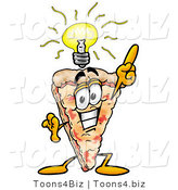 Illustration of a Cartoon Cheese Pizza Mascot with a Bright Idea by Toons4Biz