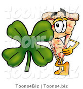 Illustration of a Cartoon Cheese Pizza Mascot with a Green Four Leaf Clover on St Paddy's or St Patricks Day by Toons4Biz