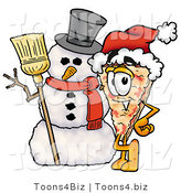 Illustration of a Cartoon Cheese Pizza Mascot with a Snowman on Christmas by Toons4Biz