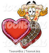 Illustration of a Cartoon Cheese Pizza Mascot with an Open Box of Valentines Day Chocolate Candies by Toons4Biz