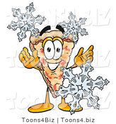 Illustration of a Cartoon Cheese Pizza Mascot with Three Snowflakes in Winter by Toons4Biz