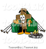 Illustration of a Cartoon Christian Cross Mascot Camping with a Tent and Fire by Toons4Biz