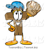Illustration of a Cartoon Christian Cross Mascot Catching a Baseball with a Glove by Toons4Biz