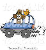 Illustration of a Cartoon Christian Cross Mascot Driving a Blue Car and Waving by Toons4Biz