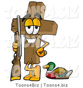 Illustration of a Cartoon Christian Cross Mascot Duck Hunting, Standing with a Rifle and Duck by Toons4Biz