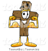 Illustration of a Cartoon Christian Cross Mascot Flexing His Arm Muscles by Toons4Biz