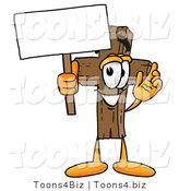 Illustration of a Cartoon Christian Cross Mascot Holding a Blank Sign by Toons4Biz