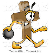 Illustration of a Cartoon Christian Cross Mascot Holding a Bowling Ball by Toons4Biz