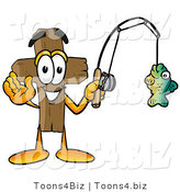 Illustration of a Cartoon Christian Cross Mascot Holding a Fish on a Fishing Pole by Toons4Biz