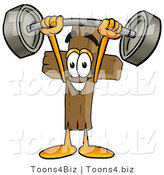 Illustration of a Cartoon Christian Cross Mascot Holding a Heavy Barbell Above His Head by Toons4Biz