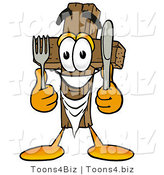 Illustration of a Cartoon Christian Cross Mascot Holding a Knife and Fork by Toons4Biz
