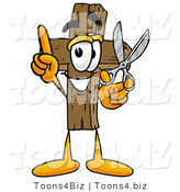 Illustration of a Cartoon Christian Cross Mascot Holding a Pair of Scissors by Toons4Biz
