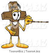 Illustration of a Cartoon Christian Cross Mascot Holding a Pointer Stick by Toons4Biz