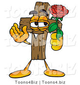 Illustration of a Cartoon Christian Cross Mascot Holding a Red Rose on Valentines Day by Toons4Biz