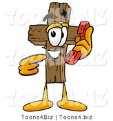 Illustration of a Cartoon Christian Cross Mascot Holding a Telephone by Toons4Biz